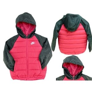 NIKE Therma Fleece Girls Quilted Jacket Rush Pink